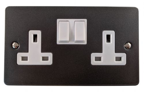 G&H FP10W Flat Plate Pewter 2 Gang Double 13A Switched Plug Socket